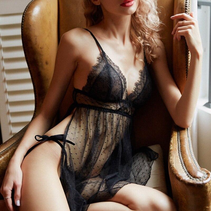 Summer Sexy Lace Sling Ladies Nightdress Polka Dot Mesh Side Slit Sleepwear Suit Lingerie For Women