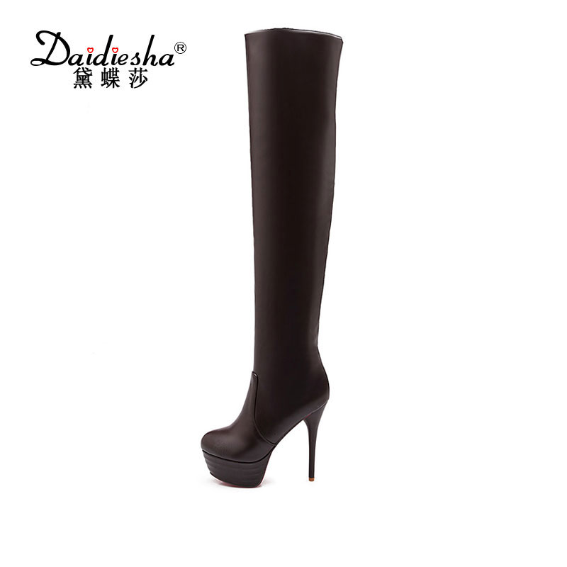 Daidiesha 2017 Sexy Round Toe Over The Knee High Solid Boots Fashion Women Shoes Lady's High Heel Autumn Boots Plus size 46