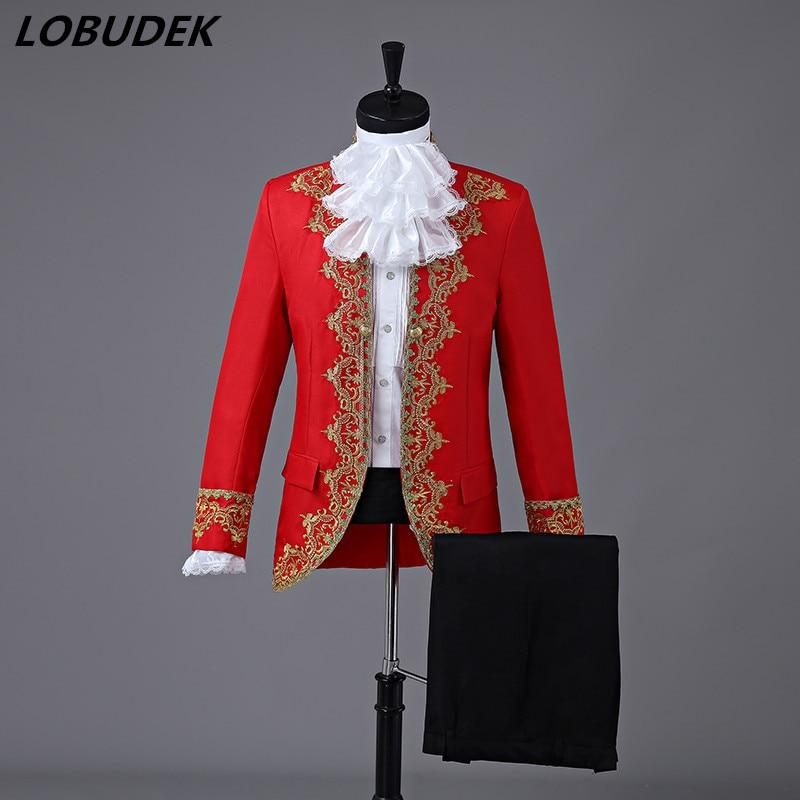 (Veste + pantalon) costumes masculins robe de cour de mariage bal formel hôte scène performance vêtements partie Bar chanteur équipe Chorus Costume