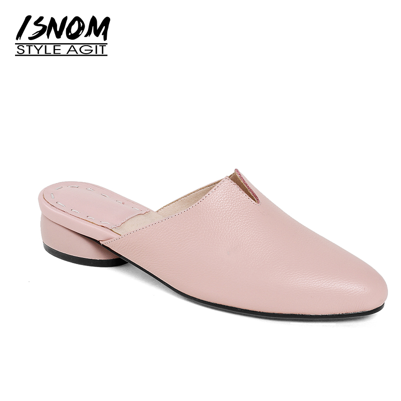ISNOM New Genuine Leather Women Mules Shoes Square Toe Strange Style Sewing Footwear Brand Summer Casual High Heels Ladies Pumps