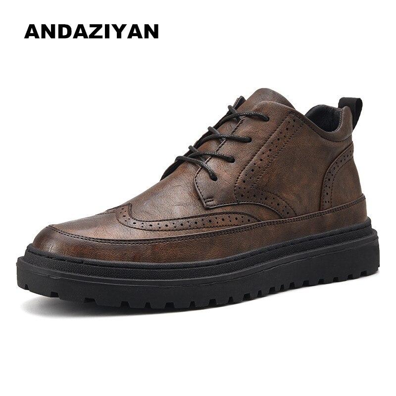 Nouveau Noir 2019 Brock Printemps marron Hommes Chaussures Décontractées Sculpté D'affaires PTOuZikwX