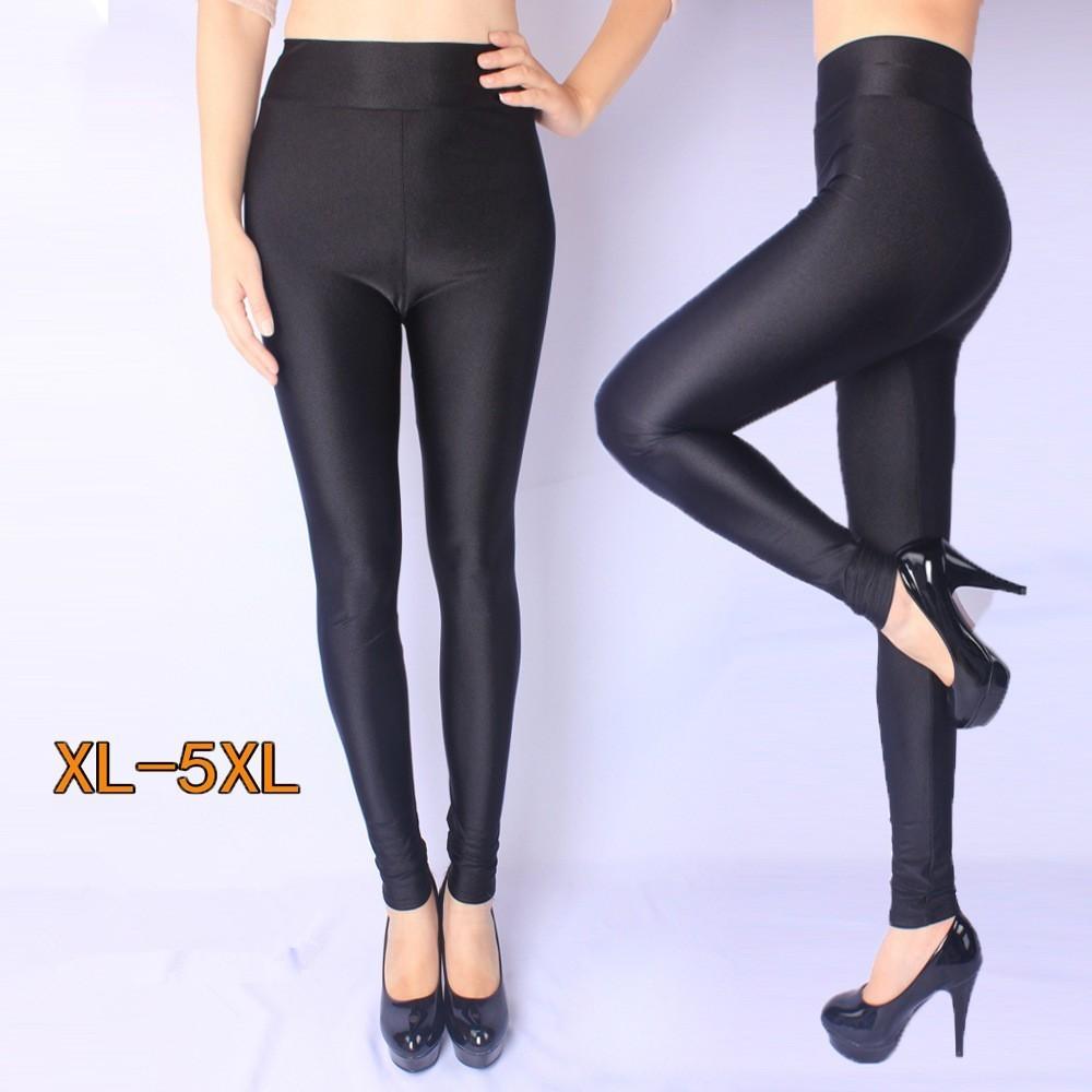 High Density Nylon Plus Size Legging High Waist Leggings Bright Top Leggings Nylon High-stretch Gloss Pants Legging Woman