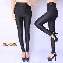 High density nylon Plus size legging Waist leggings bright top high-stretch gloss pants woman