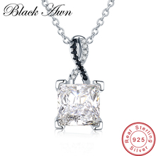 BLACK AWN 925 Sterling Silver Fine Jewelry Trendy Engagement Necklace for Women Wedding Pendants P026