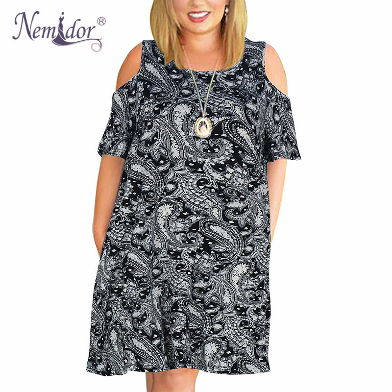 Nemidor Women's Cold Shoulder Plus Size Casual T-Shirt Swing Dress with Pockets (22)