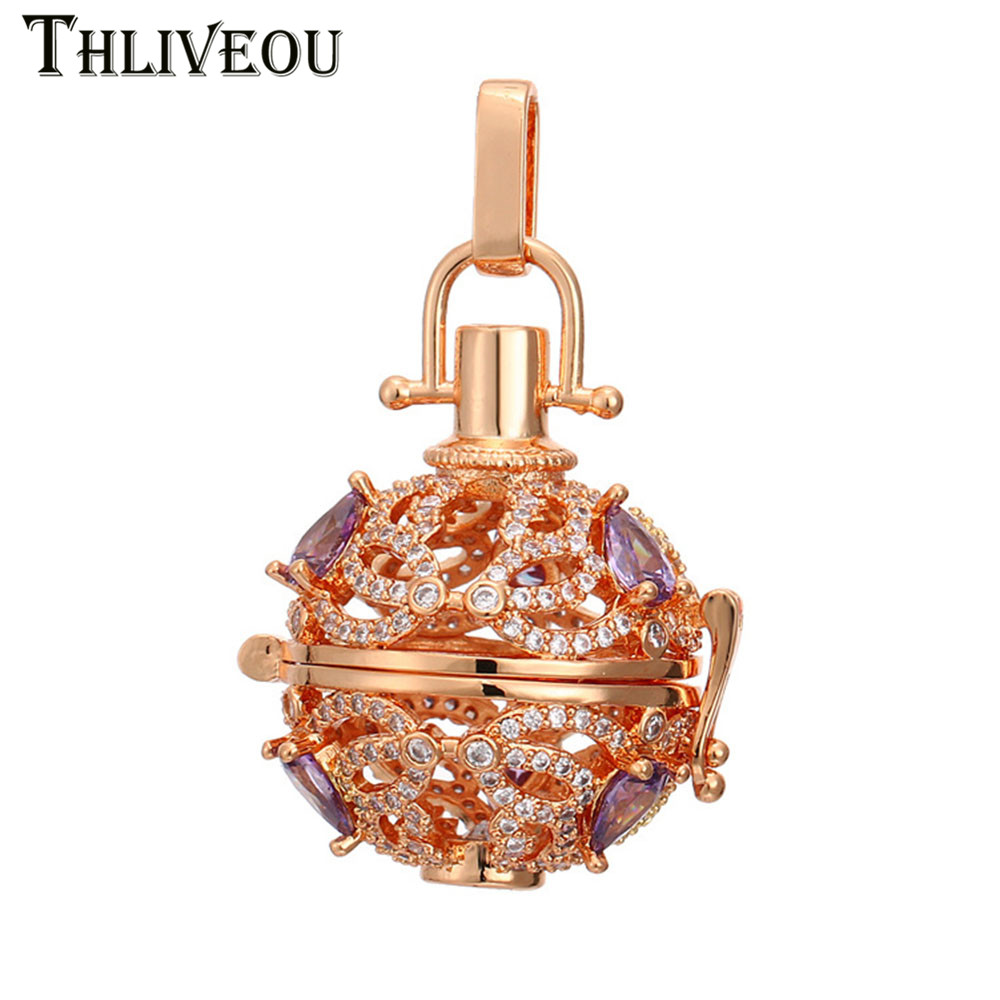 THLIVEOU 3Color Luxurious Cubic Zirconia Stainless Steel Essential Oil Diffuser Necklace Angel Ball Bola Women Pendant