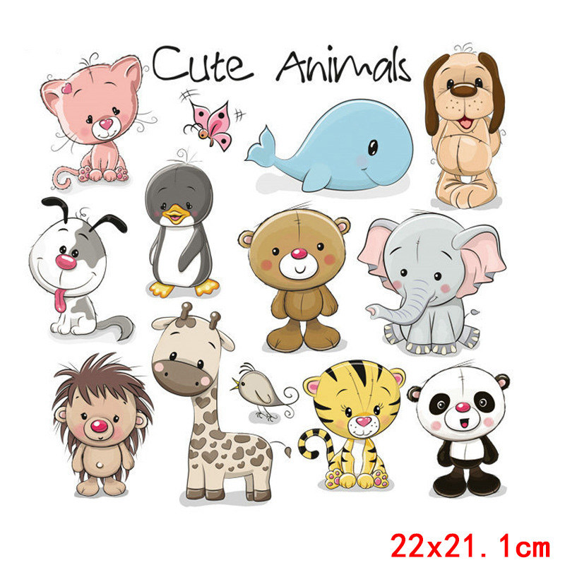 Nicediy Cartoon Cute Animal Patch Iron On Transfers For Clothes Heat Thermal Transfers Patches For Baby Washable Applique Badge in Patches from Home Garden