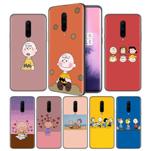 PEANUTS Pattern Soft Black Silicone Case Cover for OnePlus 6 6T 7 Pro 5G Ultra-thin TPU Phone Back Protective