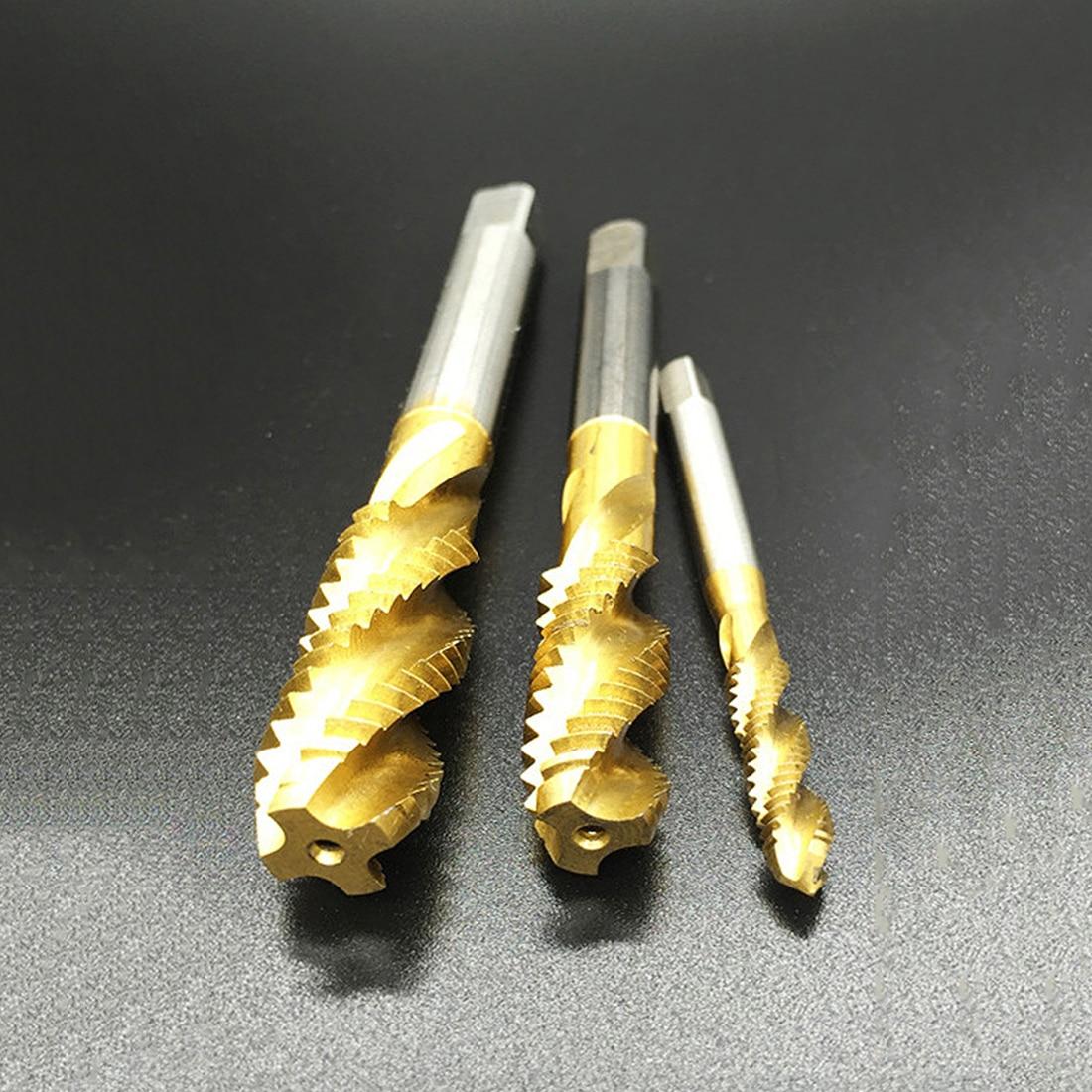 5pcs/set M3 M4 M5 M6 M8 High Speed Steel HSS Screw Thread Metric Spiral Hand Plug Tap Kit Hand Tool