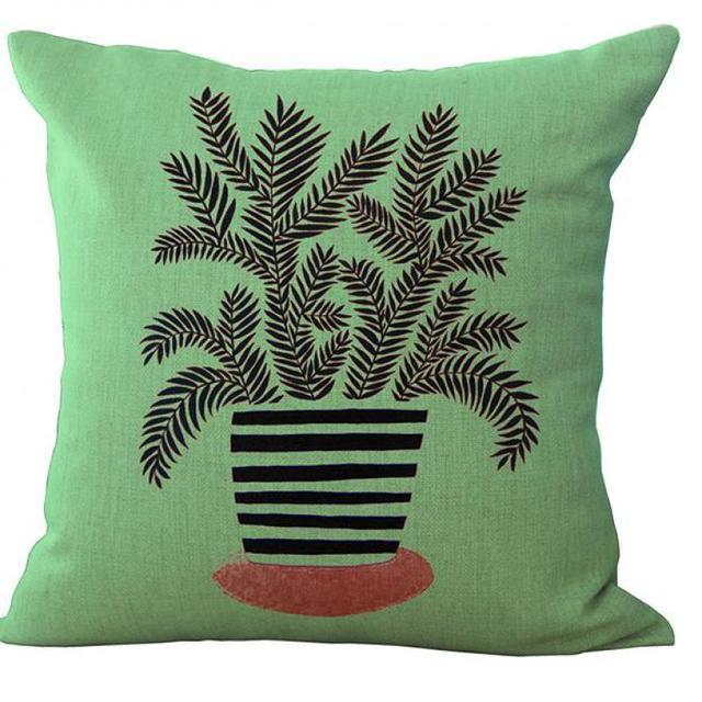 45x45 Cm Platz Bettwäsche Dekokissen Grün Topfpflanzen Stempel Gemalt  Rückenlehne Kissen Cojines Almofada Für Stuhl