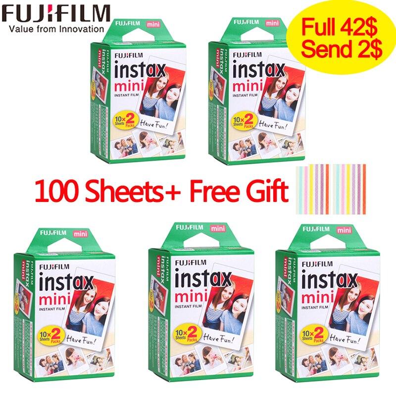 20-100 feuilles Fuji Fujifilm instax mini 9 films film blanc bord 3 pouces de large pour appareil Photo instantané mini 8 9 7 s 25 50 s 90 papier Photo