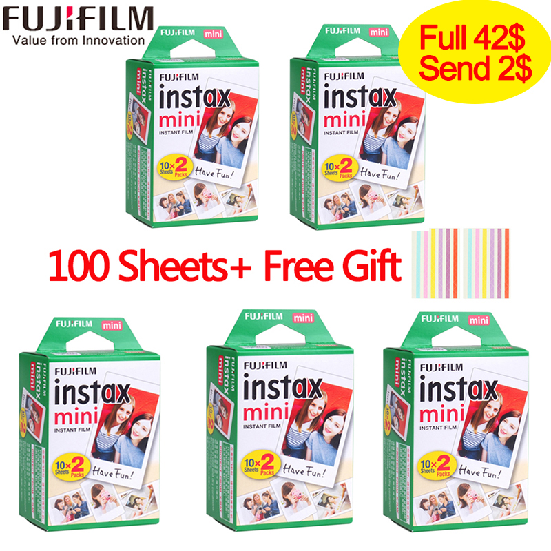 Fuji Fujifilm instax mini filmes 9 20-100 Folhas branco Borda 3 Polegada ampla film para mini Câmera Instantânea 8 9 7 s 25 90 50 s papel Fotográfico