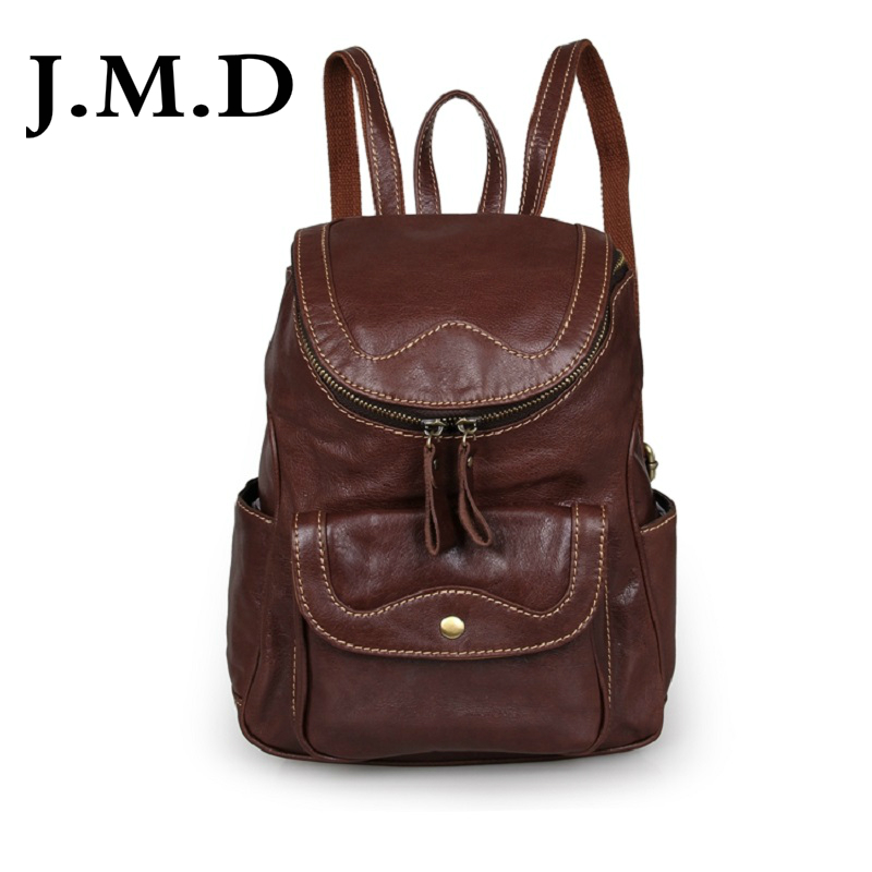J.M.D 2018 New High Quality 100% Genuine Cow Leather Brown Unique Backpacks For Teenage Girls 7303