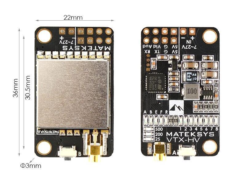 Matek 5.8G 40CH 25mW 200mW 500mW Switched Video Transmitter VTX-HV 5V/1A BEC Output For RC Multirotor Toys Models Transmission