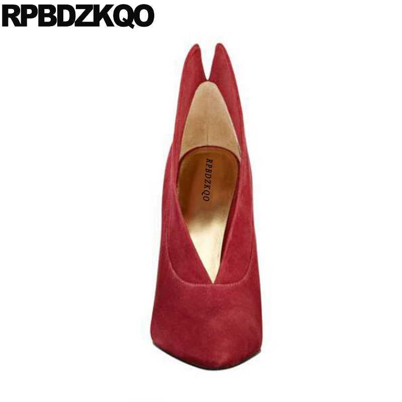 ปั๊มไวน์ 2017 สีแดงแฟชั่นรองเท้าผู้หญิง Pointed Toe ขนาด 4 34 Scarpin ของแท้หนังคุณภาพสูง Suede ส้นสูง 3 นิ้ว