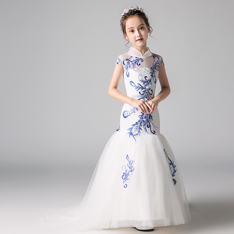 3821d913af2 Embroidery Mermaid Flower Girl Dresses Wedding New Fashion Chinese