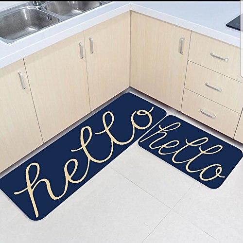 2 pièces cuisine tapis et tapis ensemble drôle bonjour mot bleu marine maison décorer antidérapant chambre salon paillassons