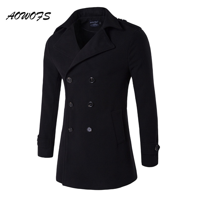 dcb4cd551e3 AOWOFS Mens Pea Coat 2017 Winter Wool Coats Men Double Breasted Wool Pea  Coat Mens Overcoat Black Trench Coat Plus Size Peacoat