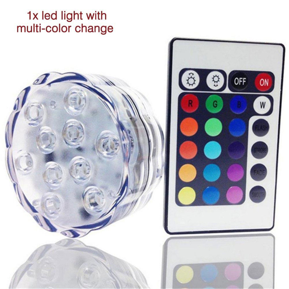 10 Led Multicolor Pool Light Submersible Waterproof Party
