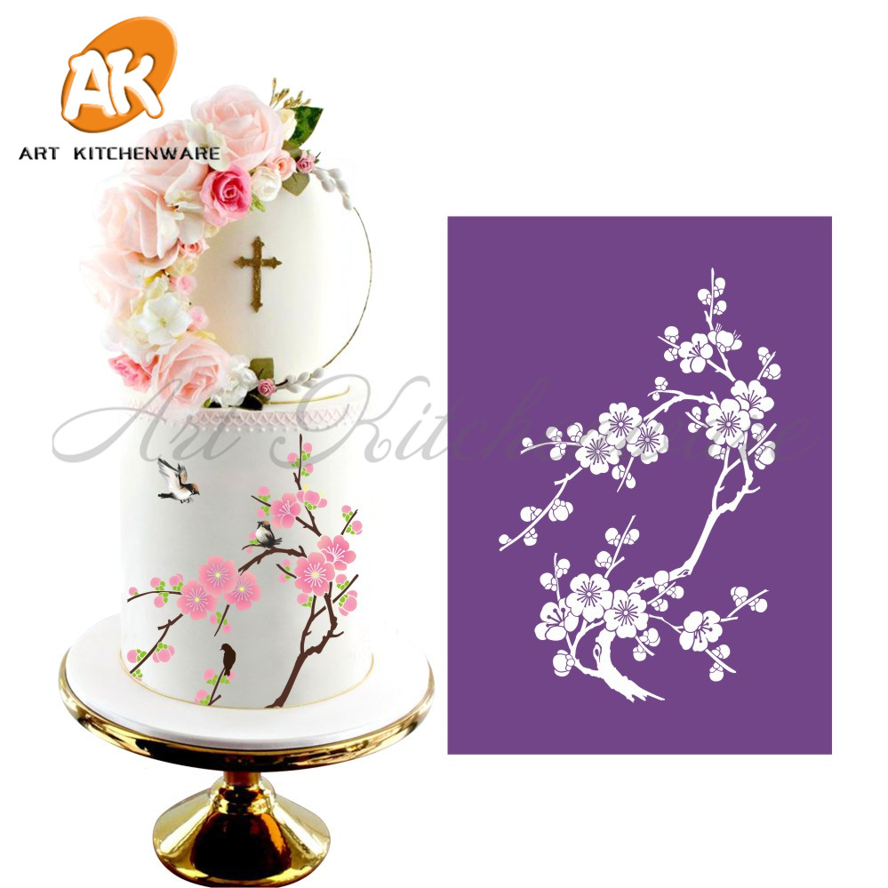 Plum Blossom Mesh Stencil Lace Cake Stencil DIY Cake Decorating Tools Soft Fabric Cake Stencils for Painting Fondant Mold MST-13