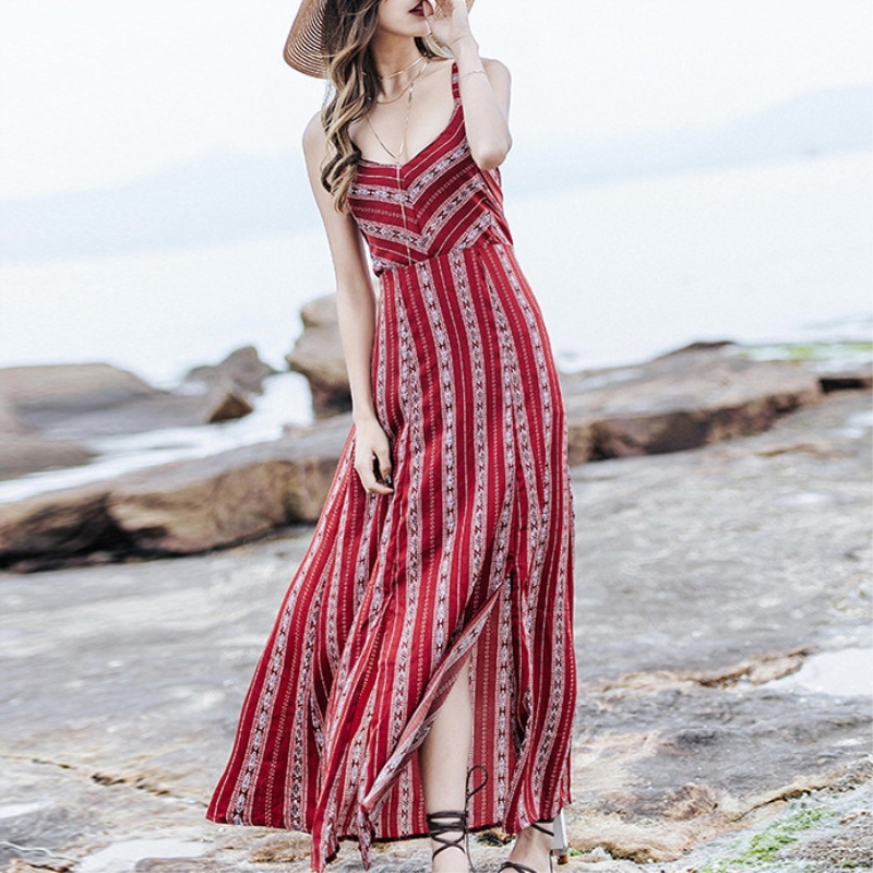 Liva Girl Summer Sexy Dress Women Boho Spaghetti Strap Maxi Long Red Dresses Backless Flora Printed Split Casual Beach Dress