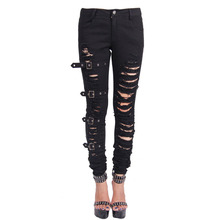 Devil Fashion Women Slim Fit Black Ripped Emo Gothic Punk Denim Pants With Tears and Belts Vintage Ladies Steampunk Damage Jeans