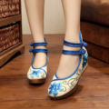New spring flower embroidery shoes woman linen wedges heels Retro shoes lidies pumps fashion zapatos mujer platform shoes