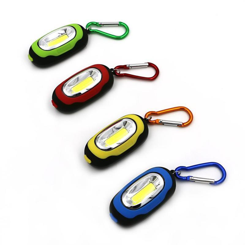 COB LED Light Flashlight 3 Modes Mini Lamp Key Chain Ring Keychain PVC Lamp Torch