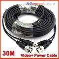 100ft 30 m CCTV Cable 30 M BNC + Power 30 metros extensión Cable BNC para CCTV Sistema de Cámaras de cctv cable