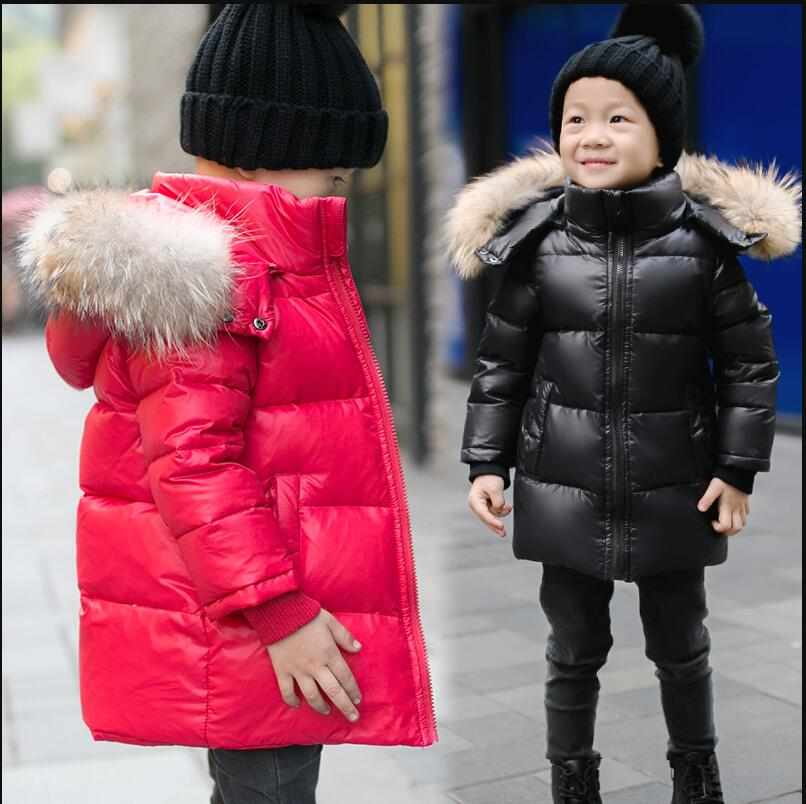 Baby unisex clothes for kids girl boy white duck down thicken warm outwear jacket winter large fur collar hooded coat kids parka saf thicken warm winter coat hood parka overcoat long jacket outwear