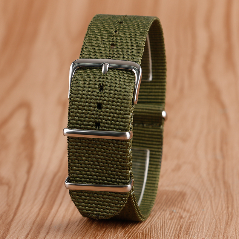 Army Green 22mm Watchband Fabric Nylon Canvas Wristwatch Band Strap Stainless Steel Pin Buckle Replacement + 2 Spring Bars durable canvas fabric strap steel buckle wrist watch band 20mm 22mm pin buckle durable replacement watchband nato strap colorful