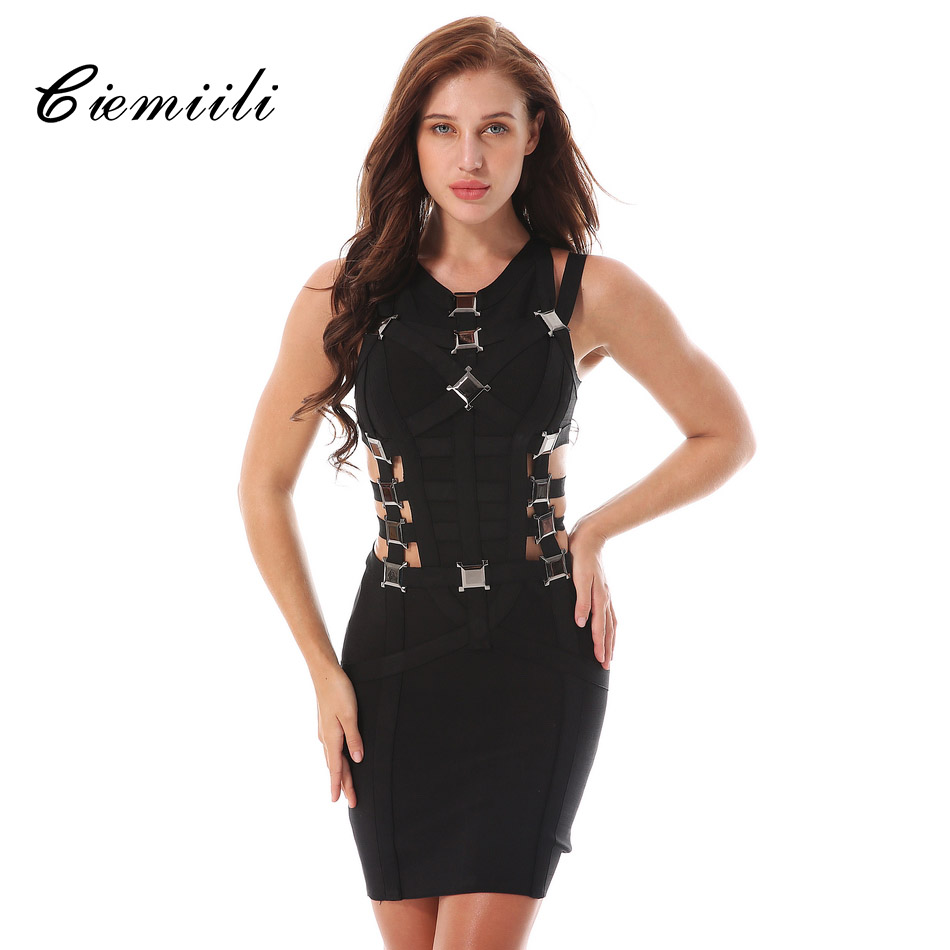 CIEMIILI 2018 Summer Women Bandage Dress Elegant Sexy Black Hollow Out Party Bodycon Dresses Women V