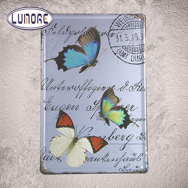 Butterfly Wall Set TIN SIGN Vintage Postcard Art Kitchen Metal Home, Cafe,  Bar, Wall Decor C74