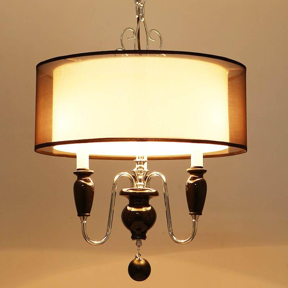 New Royal Style Pendant lamp Black Etamine Lampshade Ceramic Decorated Pendant light Living Room Pedant Light Free Shipping ...