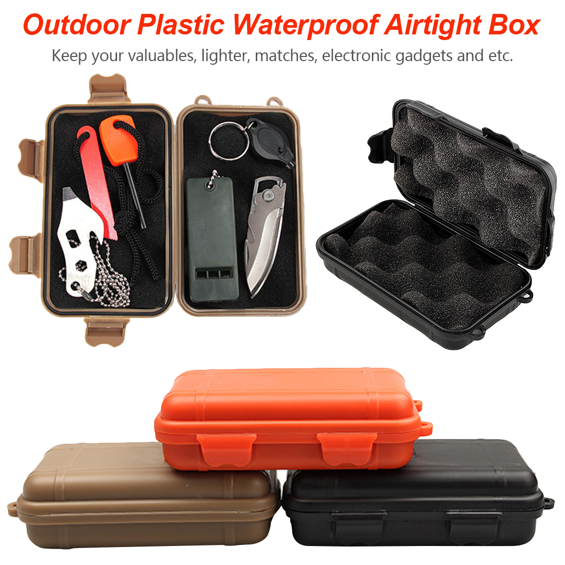 118*68mm Outdoor Shockproof Protection Waterproof Boxes Tool Box Matches Case Holder For Storage Tools Travel Sealed Container