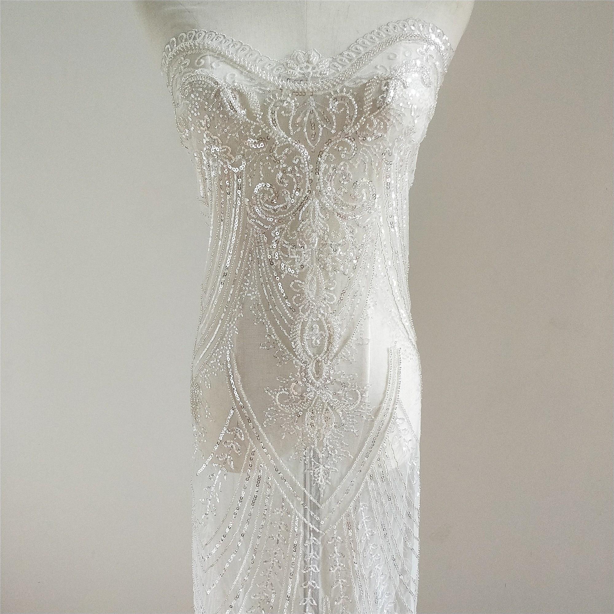 Nouvelles perles de broderie de luxe haut de gamme robe de mariée européenne broderie sequin tissu bricolage accessoires