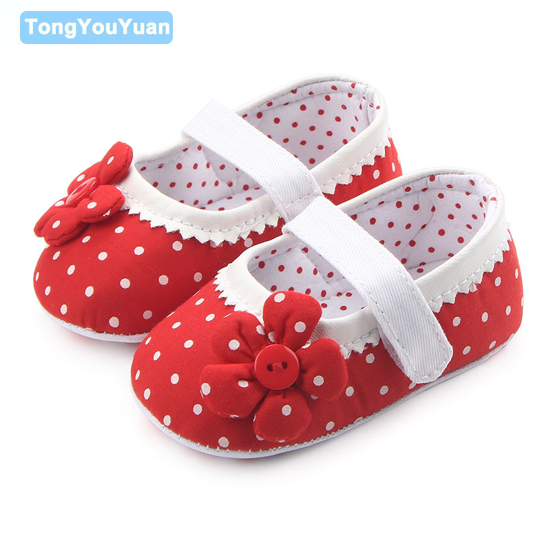 Симпатичные Кнопка Цветок горошек хлопок мелкой мягкий красивый узор подошва для маленьких девочек Туфли под платье для 0-15 месяцев