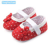 Beautiful Flower Shallow Polka Dot Botton Design Cloth Baby Girl Crib Shoes 0 12 Months