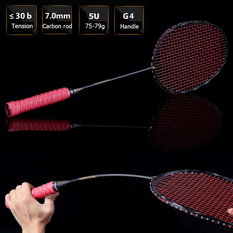 LOKI 75g Courbe Forme Badminton Raquette Offensive Carbone Raquette De Badminton 5U 22-30LBS avec Chaîne Sac