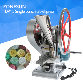 ZONESUN Tablet Press Machine TDP1.5  15KN Pressure Press Harder sugar tablet slice Maker Single Punch milk Tablet Making Machine applicatori di etichette manuali