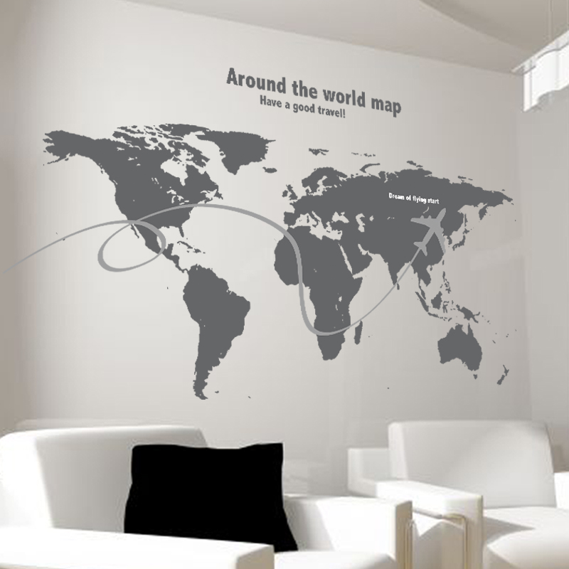 Continental Map Solid Blue Living Room Bedroom Wall