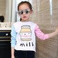 Crianças Tops para Camisas Da Menina Bonito T-shirt de Manga Longa Crianças Casuais Roupas Infantis Outono Roupas Primavera Menina Dos Desenhos Animados Tees 4T-12