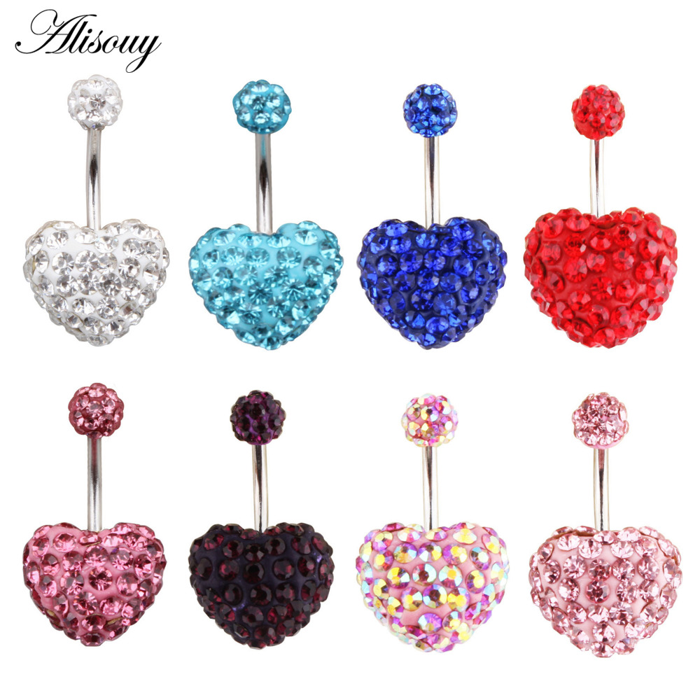 Heart Double Side Belly Piercing Rings Surgical Steel -8120