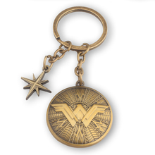 High Quality Llaveros Hot Fashion Movie Wonder Woman Keychains Vintage Antique Bronze Superhero Shield Key Ring Holder