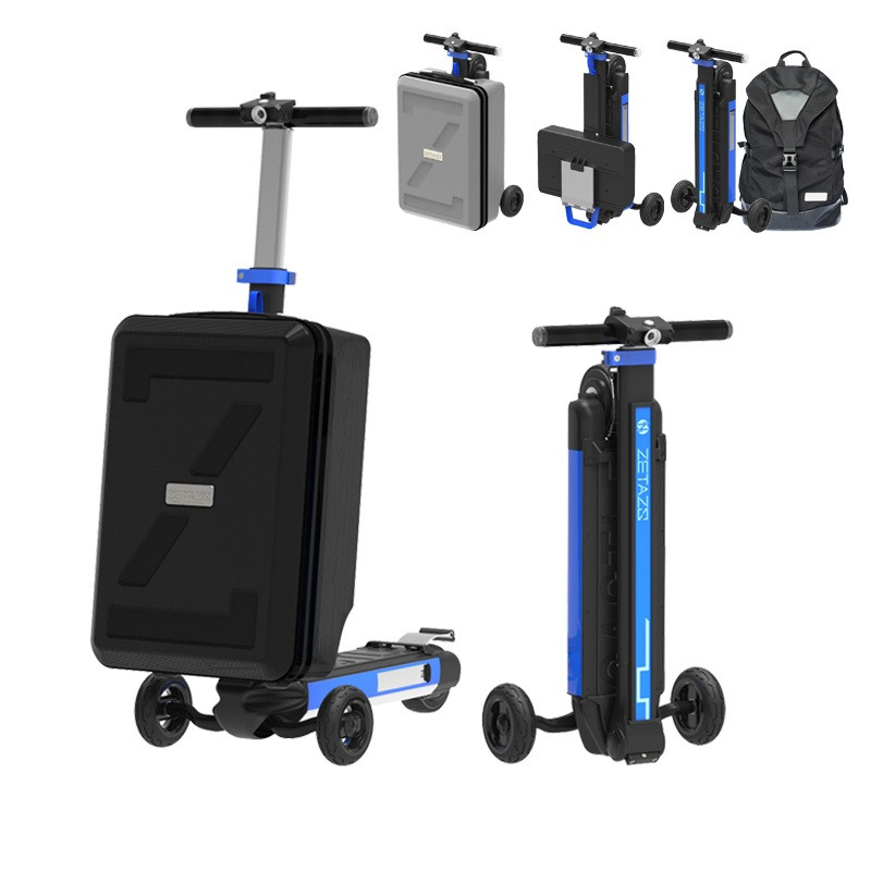 ZETAZS CASTLE 20/16 inch Luggage E-Scooter foldable three-wheel electric scooter folding bicycle skateboard power bank economic multifunction 60v 500w three wheel electric scooter handicapped e scooter with powerful motor