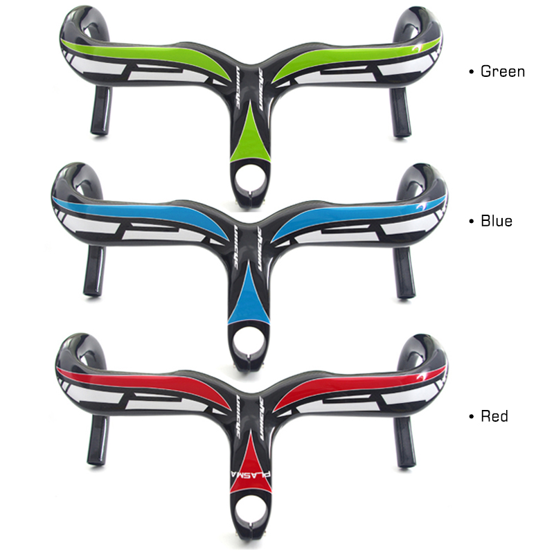Ullicyc Road Bicycle Carbon Handlebar Intergrated 3K Glossy Cycling Handlebar Stem Full Carbon fiber Road Bike Handlebar stem