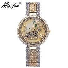 Mlle fox acier dames bracelet tableau montre étanche or guépard quartz top brand new alliage femmes de luxe montre
