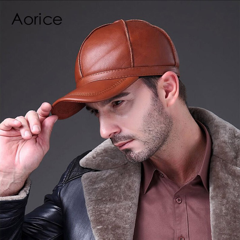 Aorice Autumn Winter Cowhide Genuine Leather Hat Man Fashion Outdoor Warm Man Baseball Cap Tap Hidden Scrub Hats 3colors HL028 unisex genuine leather cowskin baseball cap for men fall winter cowhide hat for women keep warm cow leather hat with ears black