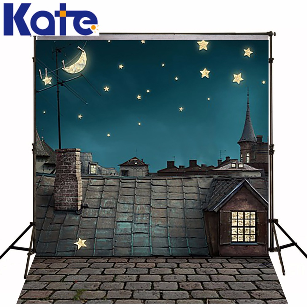 все цены на Kate Night Starry Photography Backdrops House Roof Backgrounds For Photo Studio Brick Road Washable Photographic Background