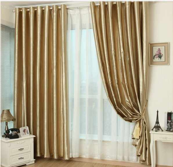 0ca2f24f62ec09 Hook Eyelet gold curtains window living room cortinas luxury drapes panels  modern kitchen high shading window